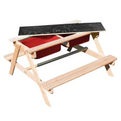 Dual Top 2.0 Sand & Water Picnic Table with Red bins