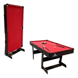 Hustle XL folding Pool Table wood/red