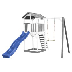 Beach Tower with Single Swing Grey/white - Blue Slide