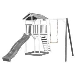 Beach Tower with Single Swing Grey/white - Grey Slide