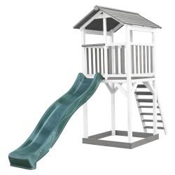 Beach Tower Speeltoren Grijs/wit - Groene Glijbaan