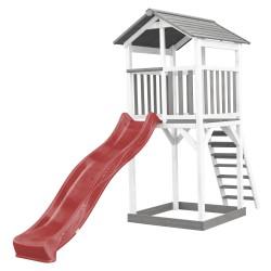 Beach Tower Speeltoren Grijs/wit - Rode Glijbaan