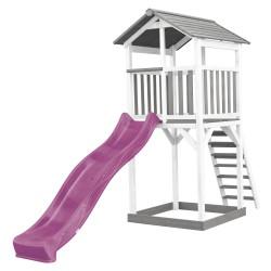 Beach Tower Speeltoren Grijs/wit - Paarse Glijbaan