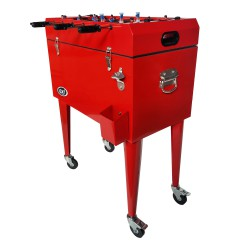 Outdoor Cooler with Table Football Red