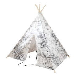 World Map Teepee Tent Black/white