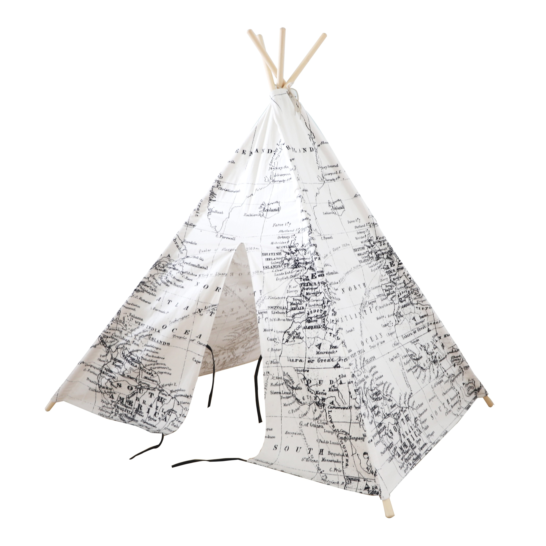 World Map Teepee Tent Black/white - Pragma BV