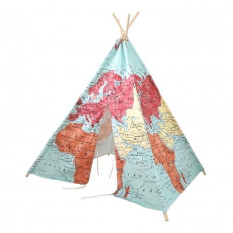 World Map Teepee Tent Multicolour