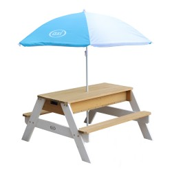 Nick Sand & Water Picnic Table Brown/white - Umbrella Blue/white