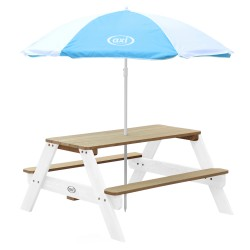 Nick Picnic Table Brown/white - Umbrella Blue/white