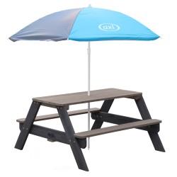 Nick Picnic Table Anthracite/grey - Umbrella Blue/grey