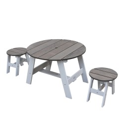 3-Piece Picnic Set Round Grey/white