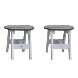2-Piece Picnic Stool Set Round Grey/white