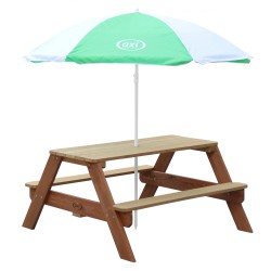Nick Picnic Table Brown - Umbrella Green/white