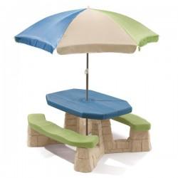 Picknicktisch mit Sonnenschirm (aqua)
