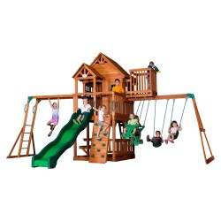Skyfort II Play Tower with Swings, Slide, Climbing Frame and Lookout Tower