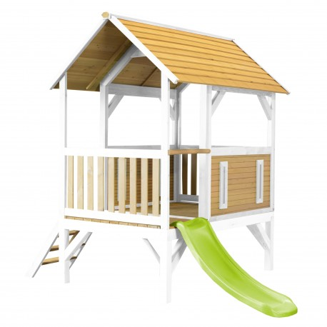 Akela Playhouse Brown/white - Lime green slide