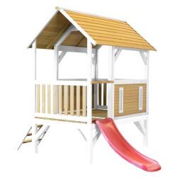 Akela Playhouse Brown/white - Red slide