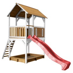 Pumba Play Tower Brown/white - Red slide