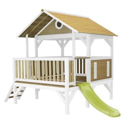 Meeko Playhouse Brown/white - Lime green slide