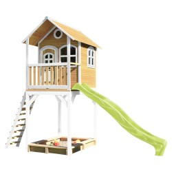 Romy Playhouse Brown/white with Lime green Slide