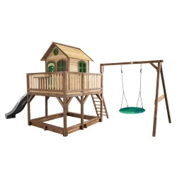 Liam Playhouse with Summer Nest Swing Brown/green - Grey slide