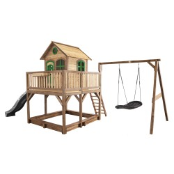 Liam Playhouse with Roxy Nest Swing Brown/green - Grey slide