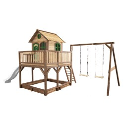 Liam Playhouse with Double Swing Brown/green - White slide