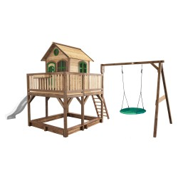 Liam Playhouse with Summer Nest Swing Brown/green - White slide