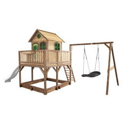 Liam Playhouse with Roxy Nest Swing Brown/green - White slide