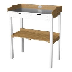 Potting Table with 2 drawers Brown/white