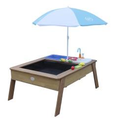 Linda Zand & Water Tafel met Speelkeuken wastafel Bruin - Parasol Blauw/wit