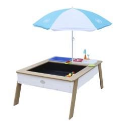 Linda Zand & Water Tafel met Speelkeuken wastafel Bruin/wit - Parasol Blauw/wit