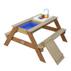 Emily Sand & Water Picnic table with Play Kitchen sink Brown