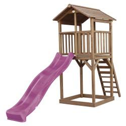 Beach Tower Speeltoren Bruin - Paarse Glijbaan