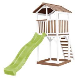 Beach Tower Speeltoren Bruin/wit - Limoen groene Glijbaan