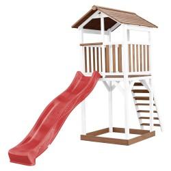 Beach Tower Speeltoren Bruin/wit - Rode Glijbaan