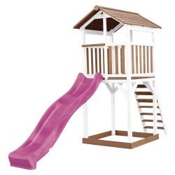 Beach Tower Speeltoren Bruin/wit - Paarse Glijbaan
